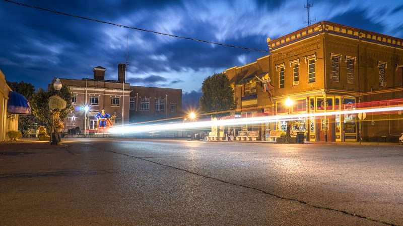 Oct.17.2017 - Superman laser beam Market Street, Metropolis, IL/photonews247.com