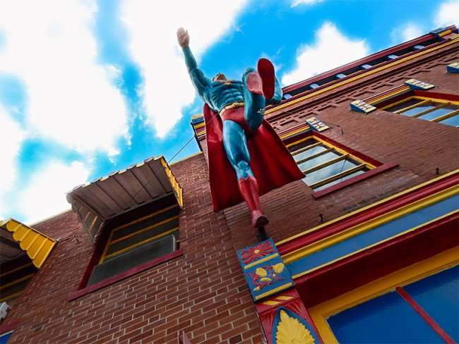 OCT 6, 2015 - Superman taking flight at Daily Planet Newspaper, Metropolis, Illinois/photonews247.com