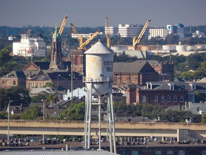 SEPT 14, 2015 - The Cotton Mill Water Tower from Harrahs Casino Hotel, New Orleans, LA/photonews247.com