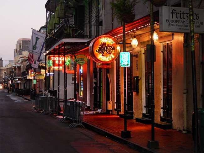 SEPT 14, 2015 - The Funky Pirate Blues Club building on Bourbon Street in the French Quarter/photonews247.com