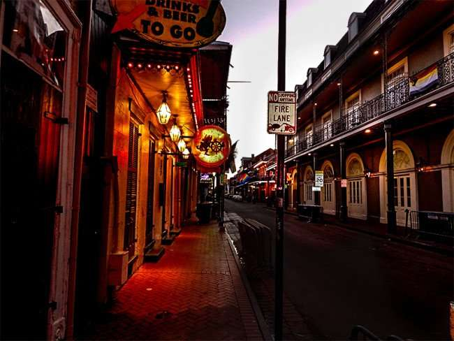 SEPT 14, 2015 - The Funky Pirate Blues Club sidewalk and building on Bourbon Street in the French Quarter/photonews247.com