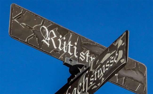 OCT 10, 2015 - The street sign Rüti Strasse represents the Rüti Village of Glarus in Switzerland/photonews247.com