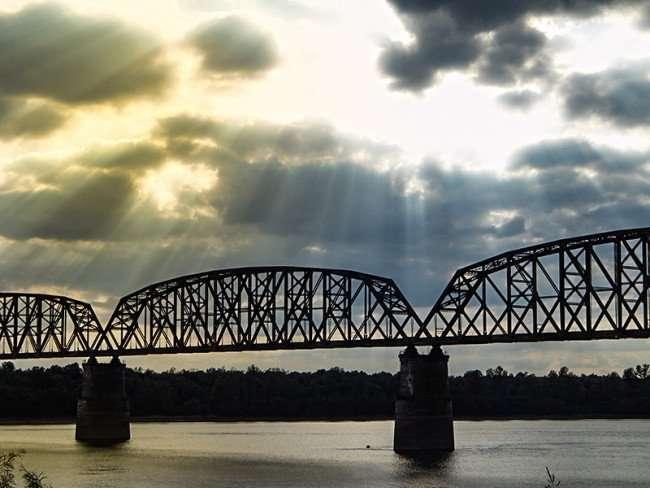 OCT 6, 2015 - Train trestle bridge across over the Ohio River in Metropolis, Illinois/photonews247.com