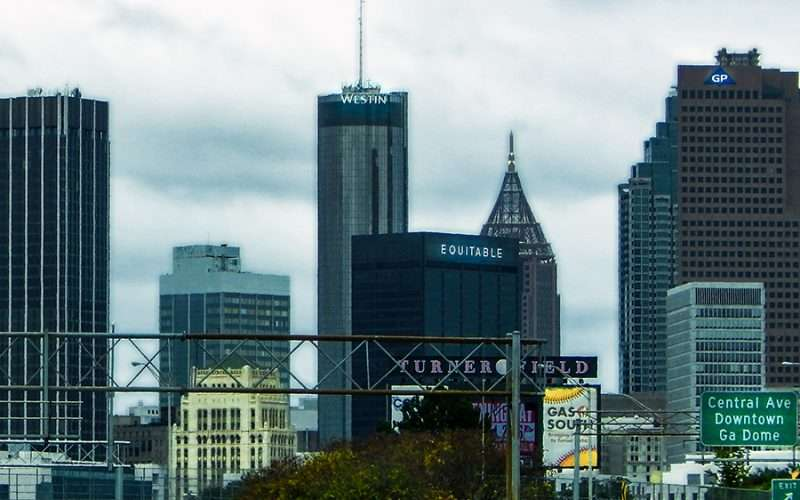 OCT 4, 2015 - Turner Field sign Westin Building, Equitable building and GP building from Hwy 75, Atlanta, Georgia/photonews247.com