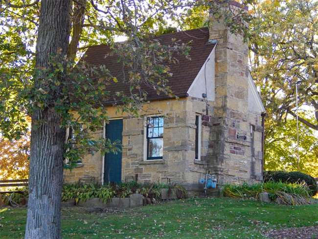 OCT 10, 2015 - Historic building by water tower in Mineral Point, WI
