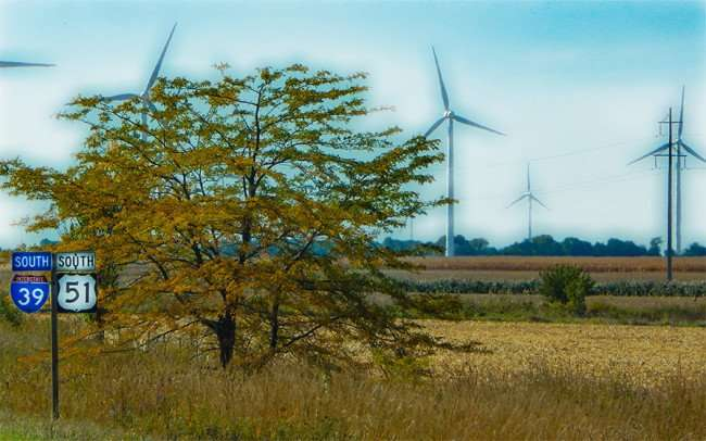 OCT 10, 2015 - Wind Turbines generating electricity along Southbound Hwy 39 and SR 21, Mendota, Illinois/photonews247.com