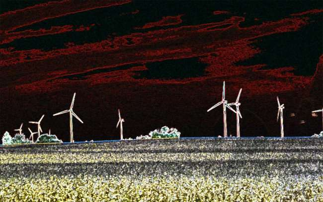 OCT 10, 2015 - Wind Turbines in corn fields on farm along Hwy 39 in Cherry Valley, Illinois/photonews247.com