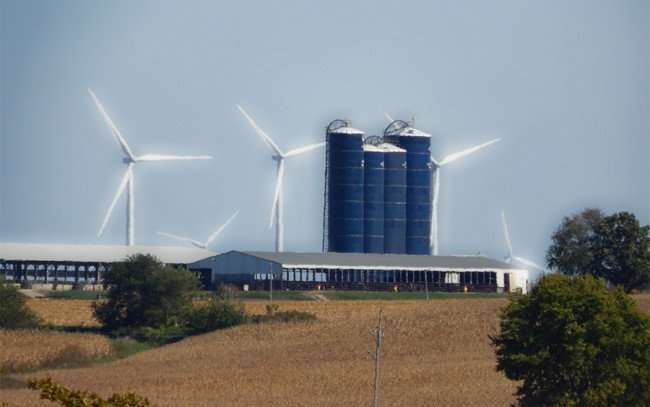 OCT 10, 2015 - Wind Turbines on Farm along Hwy 39 in Cherry Valley, Illinois/photonews247.com