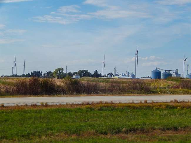 OCT 7, 2015 - Wind Turbines on farm land along Hwy 39 in Mendota, Illinois/photonews247.com