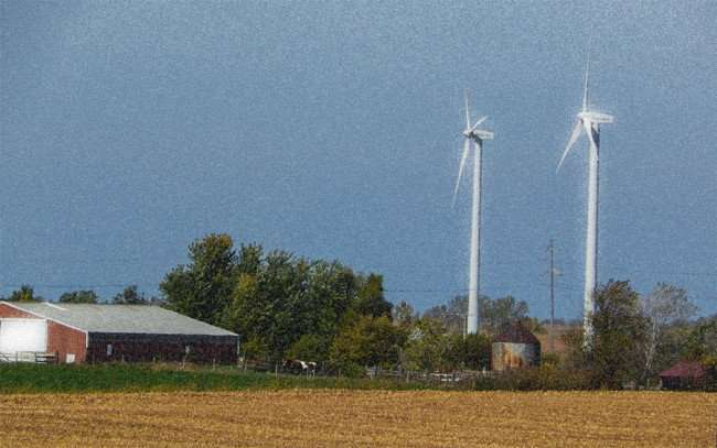 OCT 10, 2015 - Wind turbines on farm along Hwy 39 in Cherry Valley, Illiniois/photonews247.com