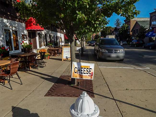OCT 10, 2015 - A view down 1st Street next to Edelweiss Cheese Shop, New Glarus, WI/photonews247.com