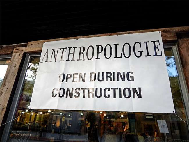NOV 8, 2015 - ANTHROPOLOGIE will be open during sidewalk updates and renovations in Hyde Park Village Plaza, Tampa, FL/photonews247.com
