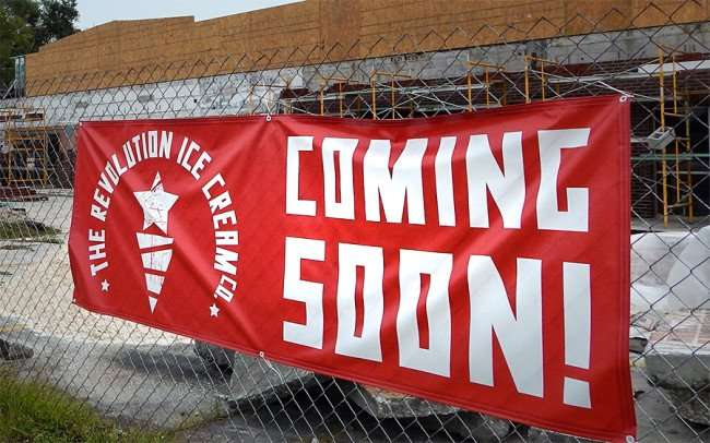 NOV 15, 2015 - Banner: 'Revolution Ice Cream Co Coming Soon' to 6701 North Florida Avenue, Seminole Heights, Florida/photonews247.com