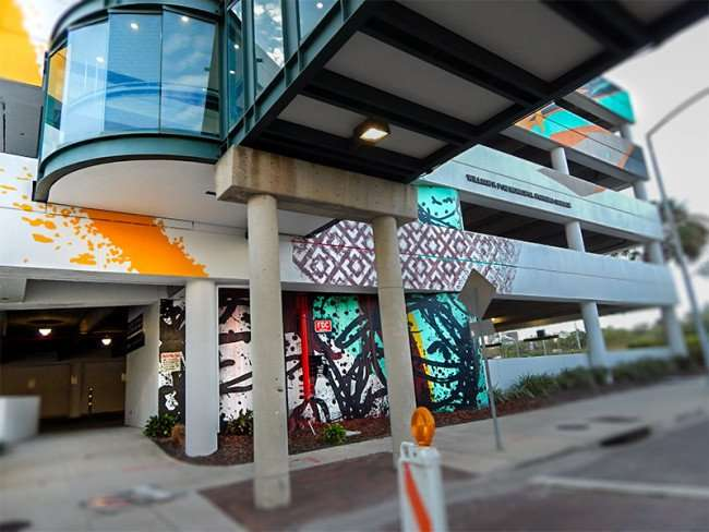 NOV 8, 2015 - Bask & Tes One colorfull artwork on Poe parking garage from Cass Street in Tampa, FL/photonews247.com