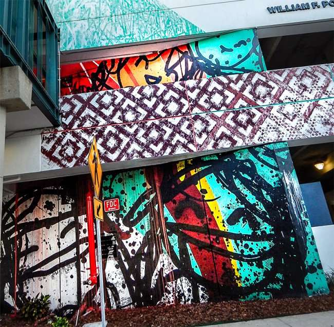 NOV 8, 2015 - Bask & Tes One paint whimsical theme on parking garage in Tampa, FL/photonews247.com