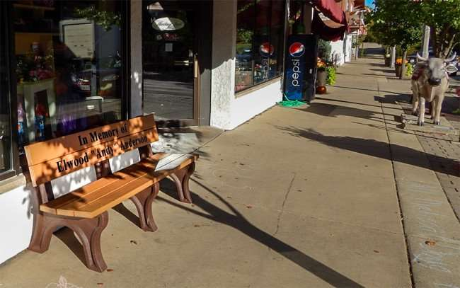 OCT 10, 2015 - Bench In Memory of Elwood Andy Anderson along sidewalk on 1st Street, New Glarus, WI/photonews247.com