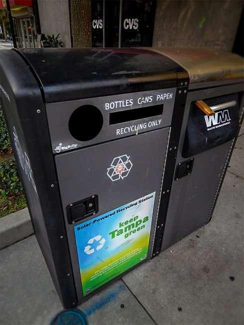 NOV 15, 2015 - Big Belly solar-powered trash compactors at Franklin Street Mall, Tampa, FL/photonews247.com