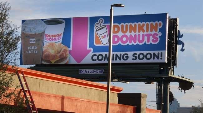 DEC 6, 2015 - Billboard Dunkin Donuts coming soon on Kennedy Blvd, Tampa, FL/photonews247.com