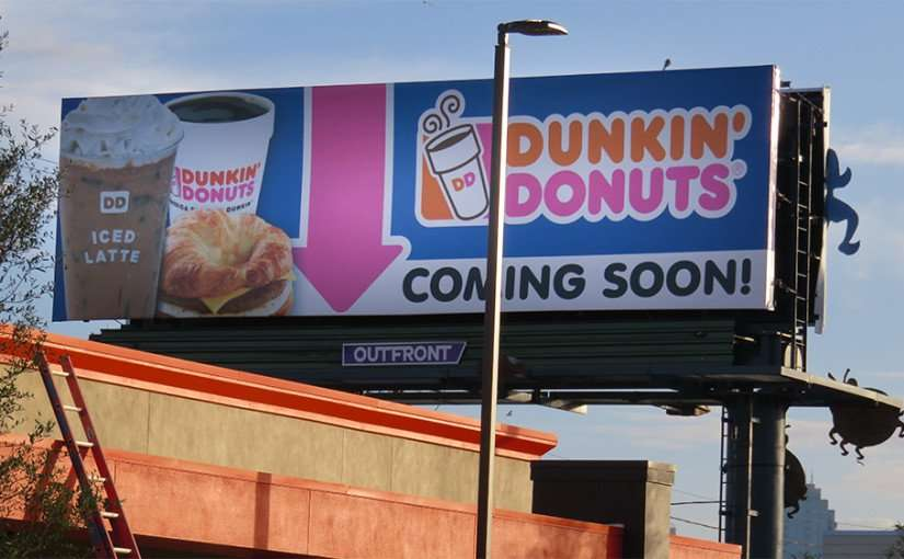 DEC 6, 2015 - Billboard Dunkin Donuts coming soon on Kennedy Blvd, Tampa, FL/photonews247.com