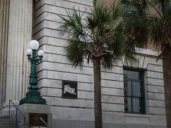 NOV 15, 2015 - Bizou Brasserie Bar Cafe sign at steps of old federal courthouse at the Le Meridien Hotel, Tampa, FL/photonews247.com
