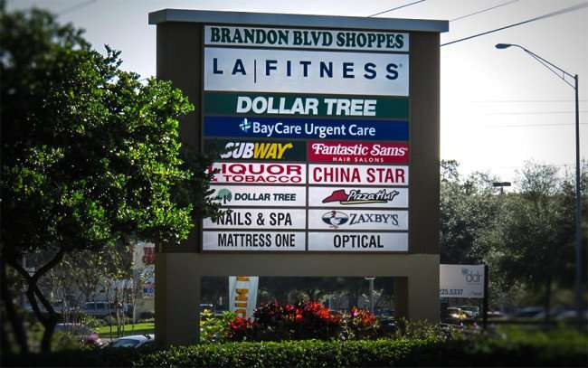 DEC 13, 2015 - Brandon Blvd Shoppes strip mall sign along Brandon Blvd in Valrico Florida/photonews247.com