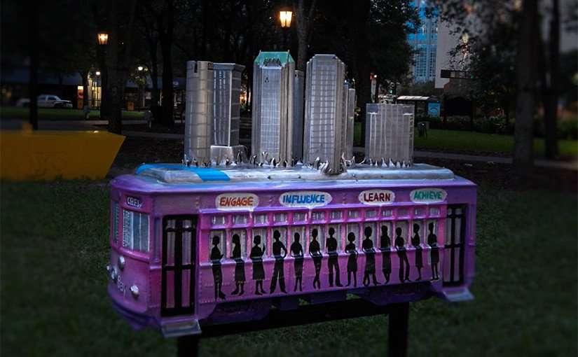 NOV 15, 2015 - CREW (Commercial Real Estate Women) of Tampa Bay streetcar sculpture in Gaslight Park, Tampa, FL/photonews247.com