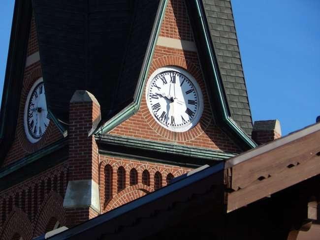 OCT 10, 2015 - Church clock tower in New Glarus, Wi/photonews247.com