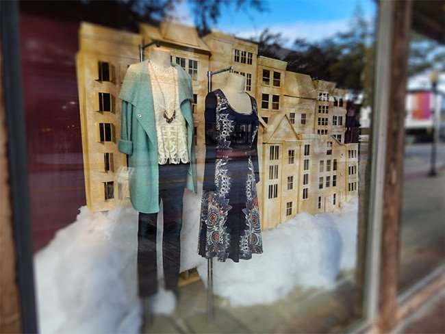 NOV 8, 2015 - Dress and pants ensemble in window at Anthropologie women's boutique, Hyde Park Village, Tampa, FL/photonews247.com