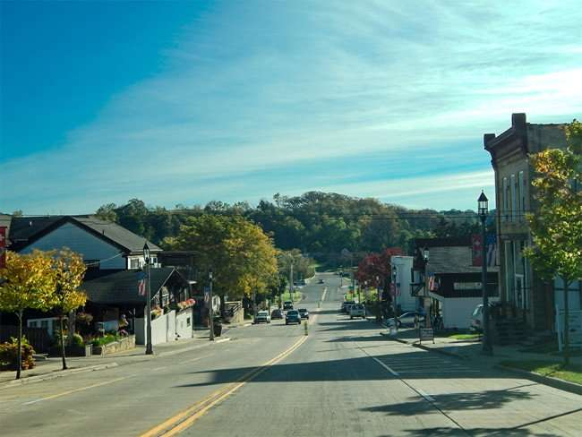 OCT 10, 2015 - Driving down 6th Street in downtown New Glarus, WI/photonews247.com