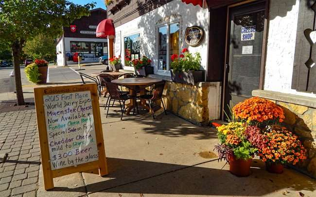 OCT 14, 2015 - Edelweiss Cheese Cafe with sidewalk seating along 1st Street, New Glarus, WI/photonews247.com