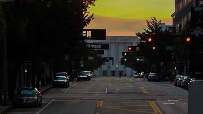 AUG 23, 2015 - Horizontal traffic signal lights down Madison Street in Tampa, FL/photonews247.com