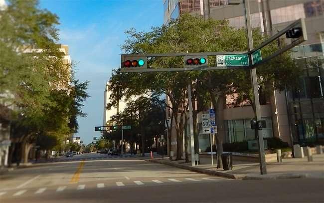 NOV 8, 2015 - Horizontal traffic signals all the down Morgan Street in downtown, Tampa, FL/photonews247.com