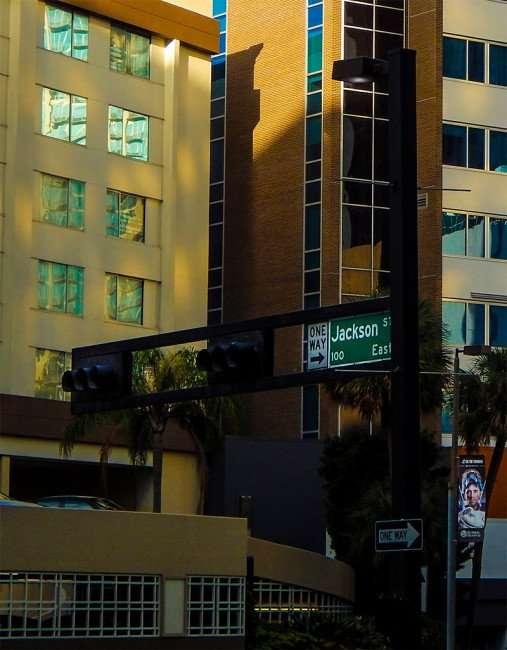 NOV 8, 2015 - Horizontal traffic signals street light connected on Jackson Street and Ashley, downtown Tampa, FL/photonews247.com