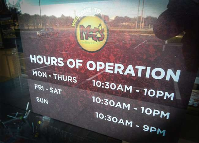NOV 7, 2015 - Hours Of Operation for Moe's Southwest Grill in Brandon-Valrico FL/photonews247.com