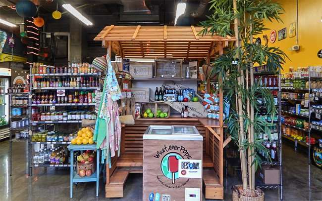 NOV 15, 2015 - Inside Duckweed urban grocery store by WhateverPops ice chest at The Element, Tampa, FL/photonews247.com