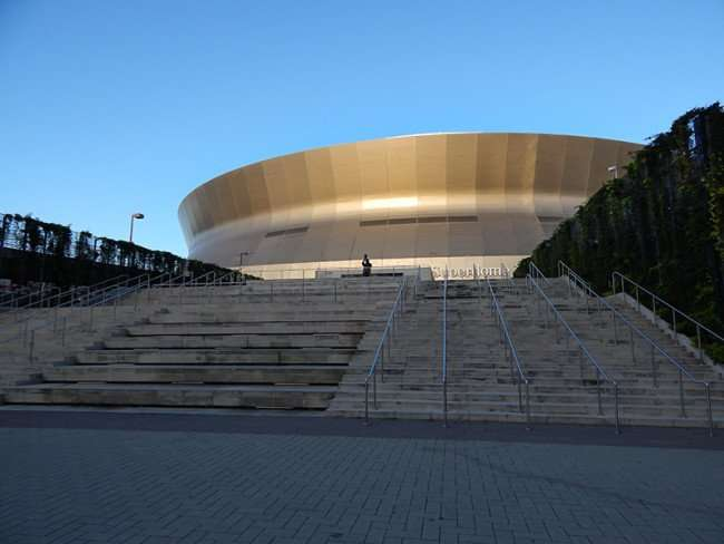 NOV 19, 2015 - Mercedes-Benz Superdome steps leading up to the doors in New Orleans, LA/photonews247.com