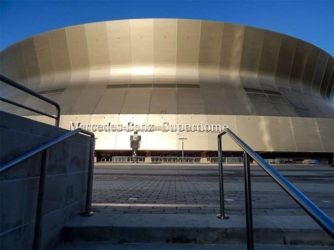 NOV 19, 2015 - Mercedes-Benz Superdome steps leading up to the entrance doors in New Orleans, LA/photonews247.com