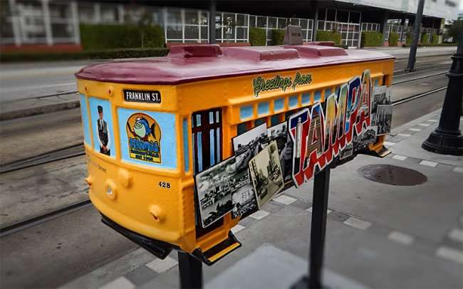 NOV 15, 2015 - Model streetcar sculpture along tracks of Channelside in Tampa, FL/photonews247.com