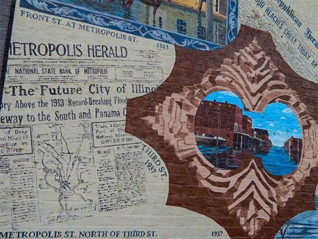 OCT 6, 2015 - Mural depicting floods in Metropolis Il during the years painted on building on Market Street and 7th Street/photonews247.com