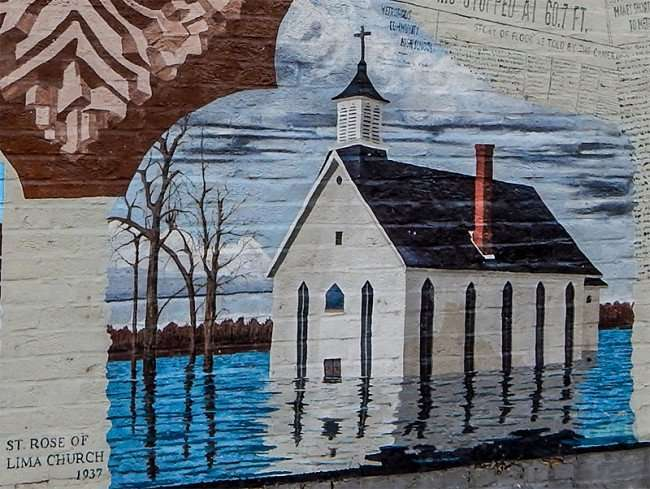 OCT 6, 2015 - Mural of flooded St Rose Of Lima Church in 1937 in Metropolis, IL/photonews247.com