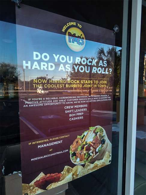 NOV 7, 2015 - Now Hiring at Moe's Southwest Grill at the Brandon-Valrico location in Florida/photonews247.om