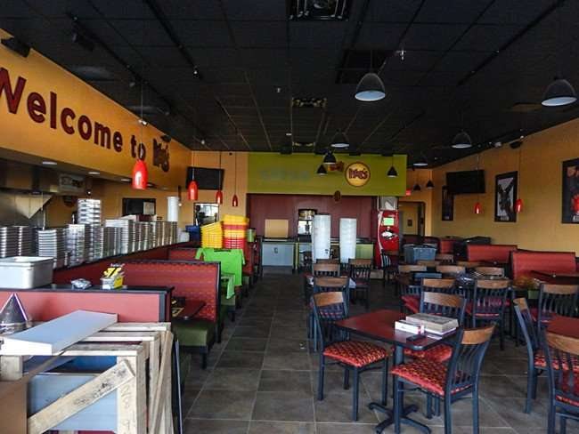 NOV 7, 2015 -Tables, chairs set up for opening day at Moe's Southwest Grill, Brandon/Valrico, FL/photonews247com