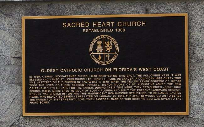 NOV 25, 2015 - Plaque on Sacred Heart Church with history in Tampa, Florida/photonews247.com