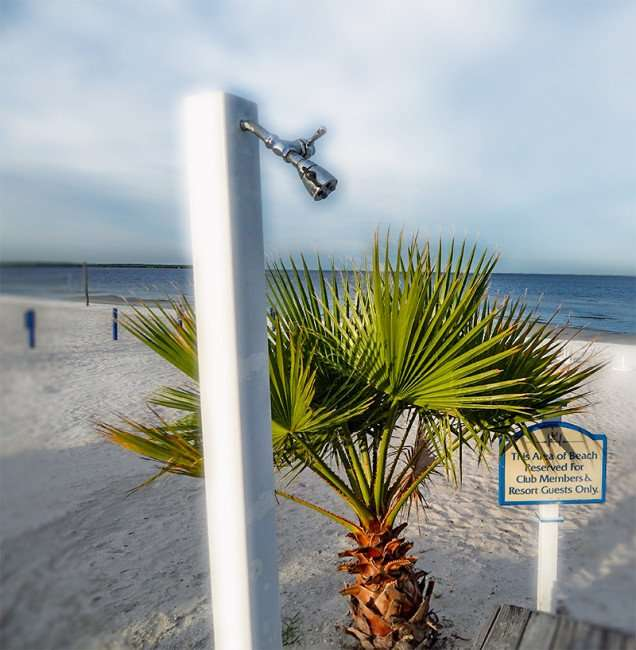 NOV 14, 2015 - Shower head on Bahia Beach for guest and club members only area Sunset Grill, Ruskin, FL/photonews247.com