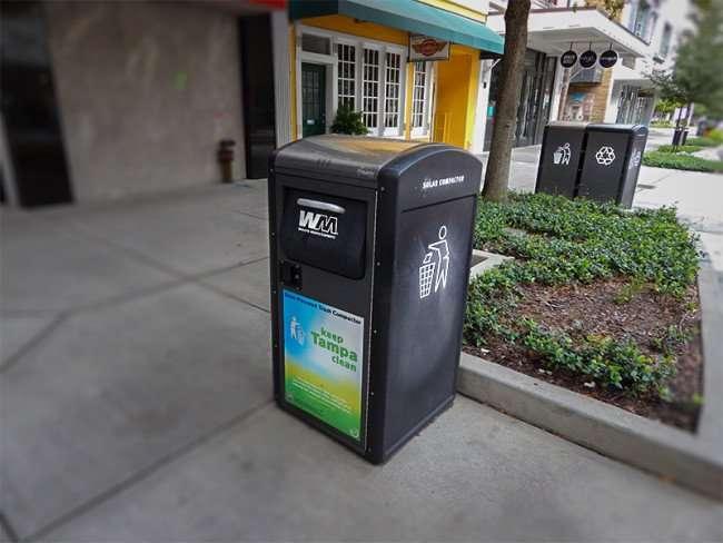 NOV 15, 2015 - Solar-Powered Trash Compactors with Wifi along sidewalk in Franklin Street Mall in Tampa, FL/photonews247.com