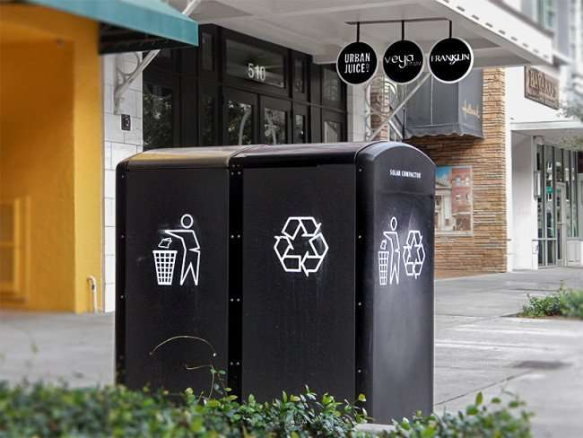 NOV 15, 2015 - Solar-powered trash compactors in front of Urban Juice Company on 510 Franklin St, Tampa, FL/photonews247.com