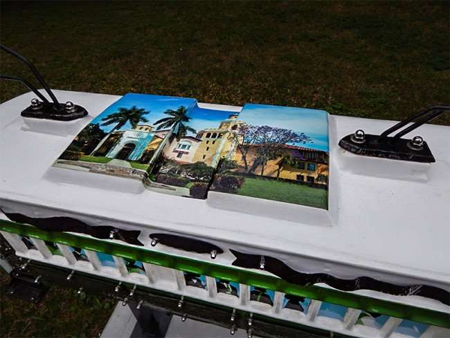 NOV 15, 2015 - Stetson Law sponsored streetcar sculpture artLOUD in Lykes Gaslight Park, downtown Tampa, FL/photonews247.com