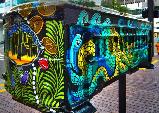 NOV 15, 2015 - Streetcar Sculpture Challenge painted by artist Samantha Churchill displayed at the Hilton Downtown Tampa/photonews247.com