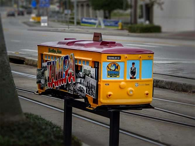 NOV 15, 2015 - Streetcar Sculpture by Artist Tim Boatright sponsored by Franklin Street Properties Tampa, FL/photonews247.com