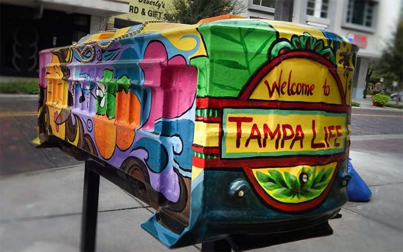 NOV 15, 2015 - Streetcar Sculpture by Beth Warmath name Welcome To Tampa Life on Franklin Street, Tampa, FL/photonews247.com